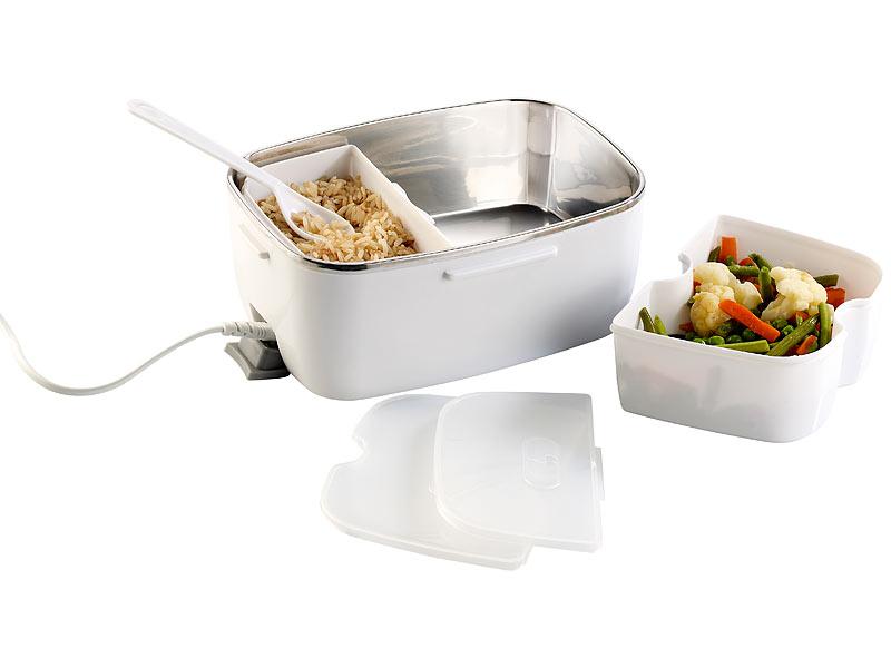 Rosenstein & Söhne Elektrische Edelstahl-Thermo-Lunchbox, 2 Fächer ...