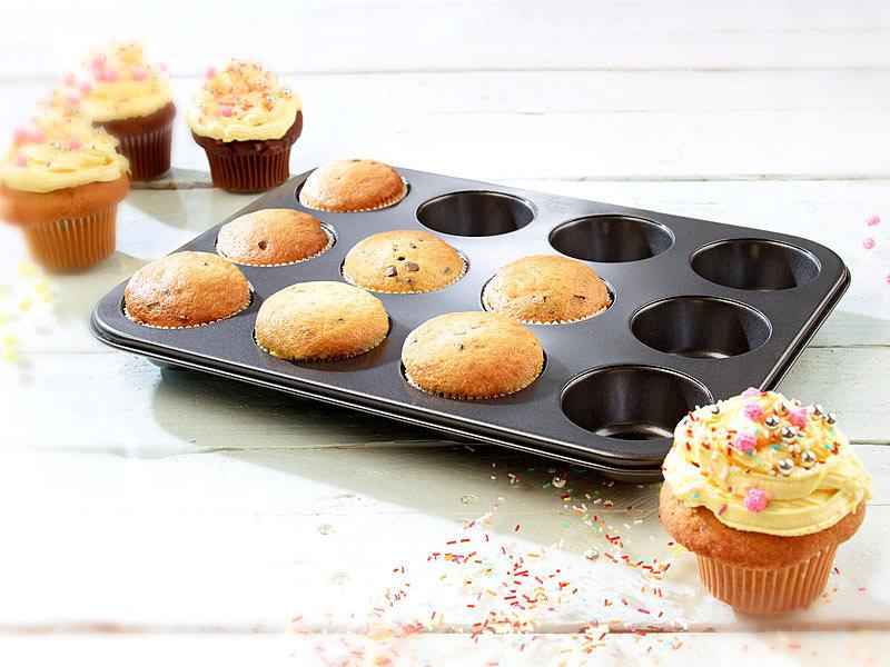 rosenstein s hne antihaftbeschichtetes backblech f r 12 muffins mit 7 cm durchmesser. Black Bedroom Furniture Sets. Home Design Ideas