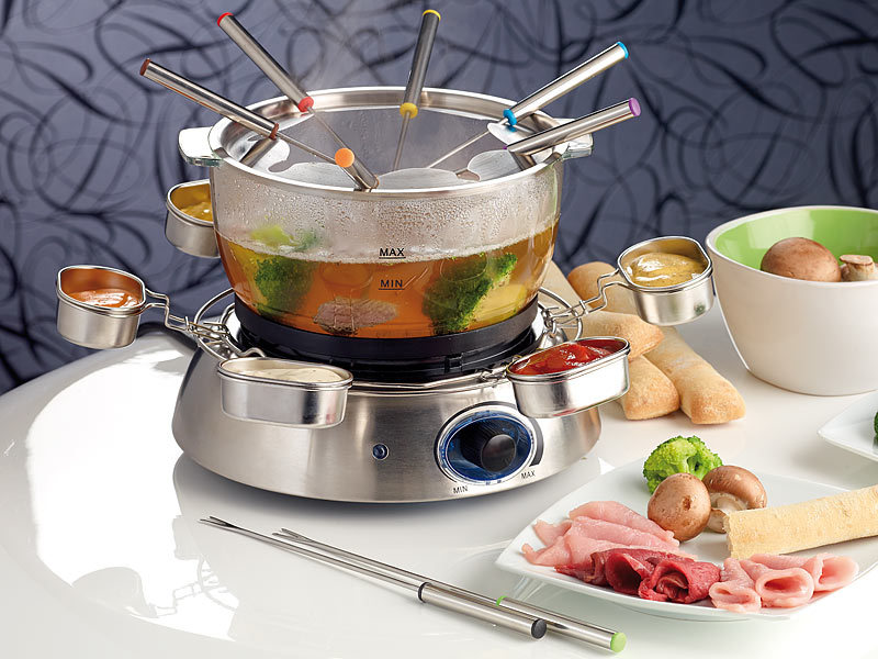 rosenstein s hne elektrisches fondue set mit glasschale. Black Bedroom Furniture Sets. Home Design Ideas