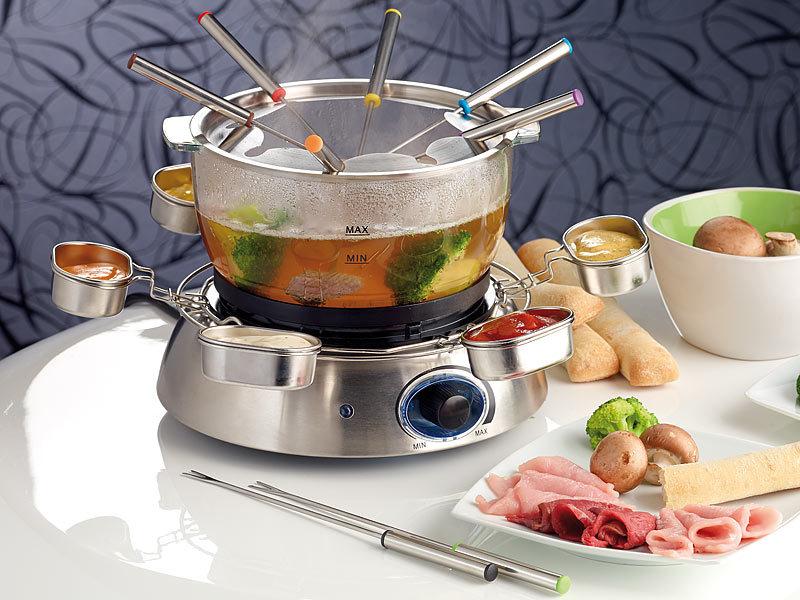 rosenstein s hne elektrisches fondue set mit glasschale watt. Black Bedroom Furniture Sets. Home Design Ideas