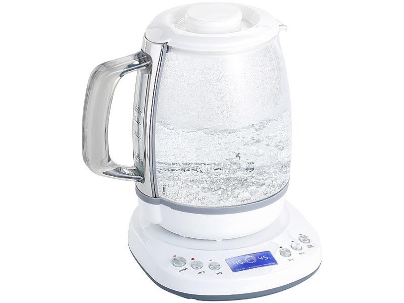 Rosenstein & Söhne Appgesteuerter WLAN GlasWasserkocher  ~ Wasserkocher Mit Temperaturwahl