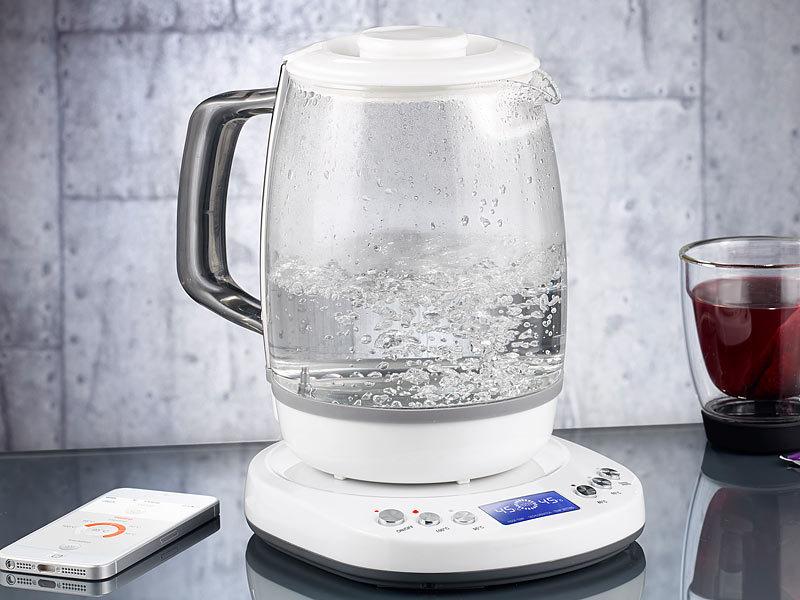 Rosenstein & Söhne Appgesteuerter GlasWasserkocher  ~ Wasserkocher Mit Temperaturwahl