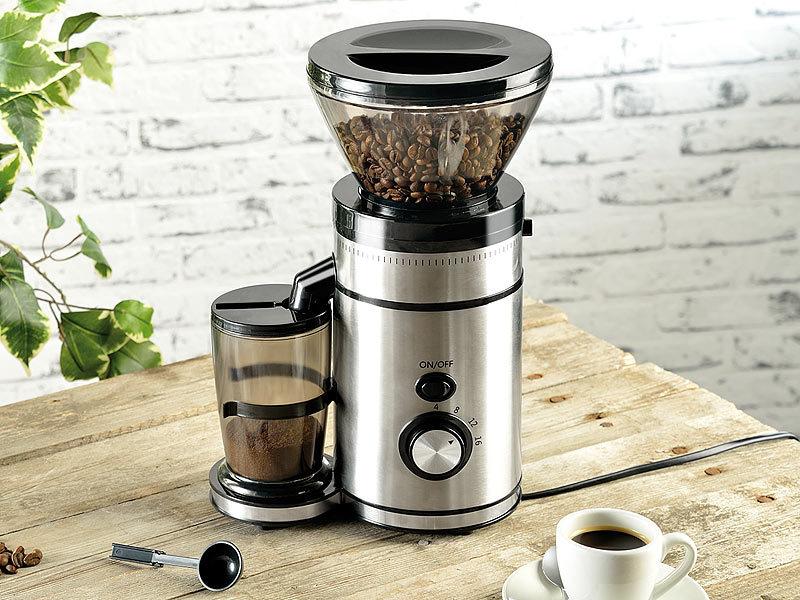 Kaffeemühlen  Rosenstein & Söhne Elektrische Edelstahl-Kaffeemühle mit Kegelmahlwerk