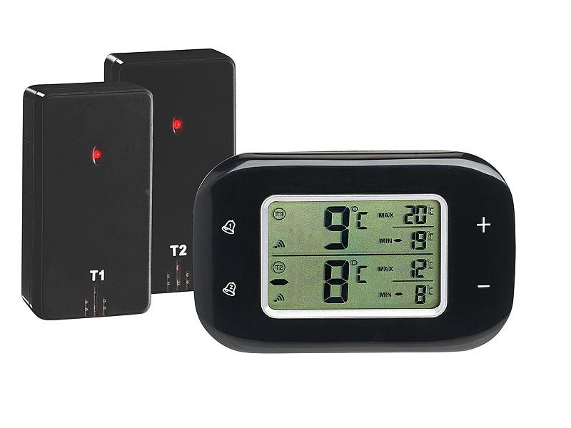 rosenstein s hne digitales k hl gefrierschrank thermometer 2 funk sensoren schwarz. Black Bedroom Furniture Sets. Home Design Ideas