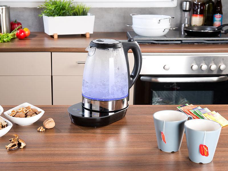 rosenstein s hne digitaler glas wasserkocher temperaturwahl display w 1 7 l. Black Bedroom Furniture Sets. Home Design Ideas