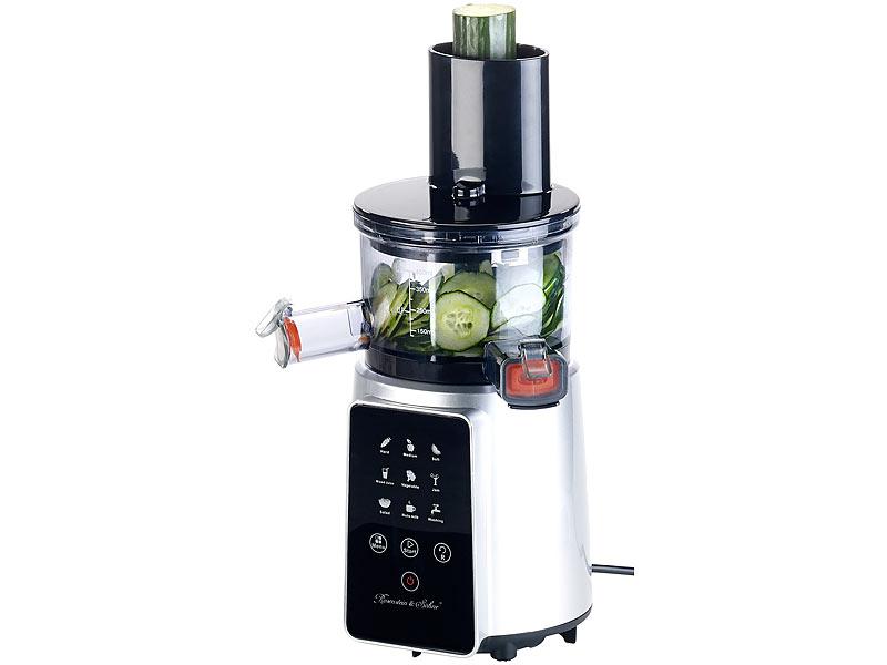 Rosenstein & Söhne 3in1 Slow Juicer & Entsafter mit Gemüse