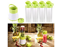 Rosenstein & Söhne 2in1-Smoothie & Standmixer mit 4 Trinkbechern, BPA-frei, 500 ml